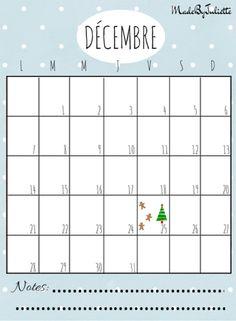 - DECEMBRE 2015 - Imprimes le calendrier pour customiser ton agenda. A voir: vidéo sur ma chaîne!