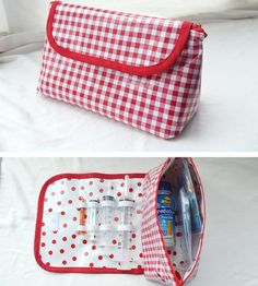 Tidy Tubie Pak - Travel Bag for Feeding Tube Supplies - Gtube, G/J Tube, PEG Tube - Red Gingham (also available in Pink or Lt. Peg Tube, Sewing To Sell, Sewing Diy, Sewing Ideas, Medical Bag, Feeding Tube, Special Kids, Medical Equipment, Foster Baby