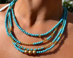 Four Strand, Boho, Asymmetrical Necklace Turquoise and Gold, Bohemian