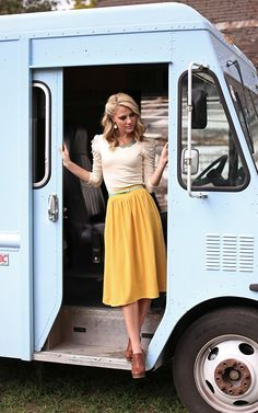 Mustard Skirt and Satin Top. LOVE. My skin would need bright white and yellow, but I love the cut, color combo, materials, just yes.