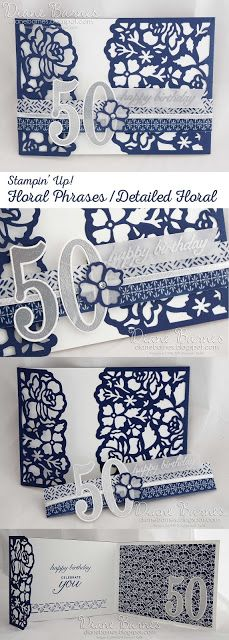 navy & white floral 50th birthday card using Stampin Up Floral Phrases / Detailed Floral bundle. 2016-17 annual catalogue. By Di Barnes #colourmehappy 50th Anniversary Cards, Stamping Up Cards, 50th Birthday Cards For Women, Happy Birthday Cards, Folded Cards, Creative Cards, Scrapbook Cards, Wedding Cards, Birthday Numbers