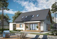 Projekt domu Savona 108,42 m2 - koszt budowy 155 tys. zł - EXTRADOM Exterior Design, House Design, Outdoor Decor, Home Decor, Model, Houses, Facades, Wood Facade, Porch Roof