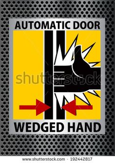beware wedged hand sign with metal background