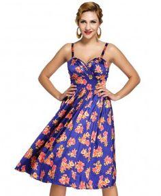 Vintage Floral Print Strappy Dress