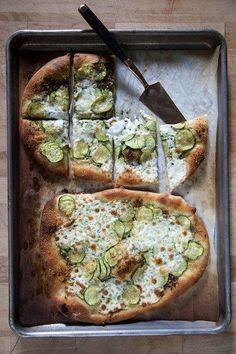 Zucchini Pizza With Fresh Mozzarella and Basil Pesto