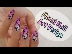 Flowers And Pink Gradient Nail Art - YouTube