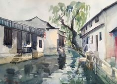 """River Town"" by Jing Chen. Watercolour on Paper, Subject: Architecture and cityscapes, Impressionistic style, One of a kind artwork, Signed on the front, This artwork is sold unframed, Size: 38 x 28 x 0.1 cm (unframed), 14.96 x 11.02 x 0.04 in (unframed), Materials: watercolour paint"