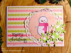 Lawn Fawn Snowman nontraditional Christmas Card with lots of pink and green