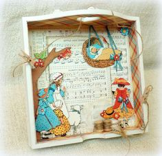 Check out this gorgeous altered Mother Goose tray by Romy! Amazing #graphic45 #alteredart