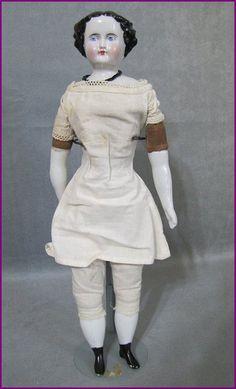 "Beautiful 13"" china head doll, circa 1860s"