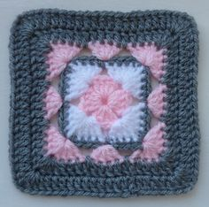 "Afghan block  ||/  ♡ WOULDN'T THIS BE ADORABLE IF THEY USED REALLY, REALLY ""FUZZY"" WHITE YARN, AND ONLY A LITTLE BIT ""FUZZY"" PINK YARN!  ♥A"