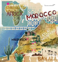 An illustrated map of Morocco by Andy MacGregor.