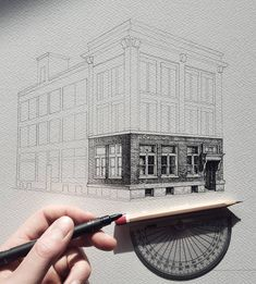 Home Design - Architekturzeichnung - - Architecture Drawing Sketchbooks, Architecture Concept Drawings, Architecture Art, Pencil Art Drawings, Drawing Sketches, Drawing Drawing, Kunst Portfolio, Illustrator, Perspective Art