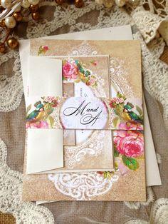 WEDDING INVITATION Suite Sample - Unique, Custom Designed Wedding Invitation Suite. Shabby Chic, Vintage, Rustic Inspired