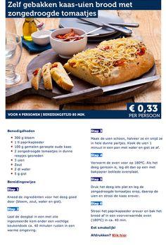 Zelfgebakken kaas-uien brood met zongedroogde tomaatjes - Lidl Nederland