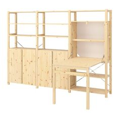 IVAR Shelving unit w tbl/cabinets/shlvs, pine, - IKEA Foldable Table, Home Organization, Storage Spaces, Shelving, New Homes, Furniture, Cabinets, Solid Pine, Solid Wood