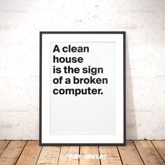 Ich freue mich, den jüngsten Neuzugang in meinem #etsy-Shop vorzustellen: Printable Wall Art, A clean house, Designer Quotes, Quote Poster, Funny Quotes, Home Decoration, Instant Digital Download, Cleaning Quote http://etsy.me/2p1H8Uw #kunst #drucke #digital #printable
