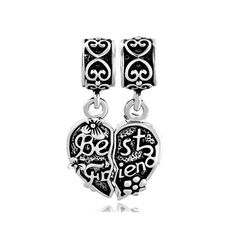 5222a1cd9 QueenCharms Best Friends Matching Dangle Charms with Flowers European Bead  for Bracelets >>