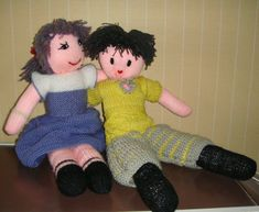 Jules et Juliette Knitted Dolls, Puppets, Free Pattern, Toys, Puppet Theatre, Harry Potter, Fashion, Crochet Dolls, Plushies