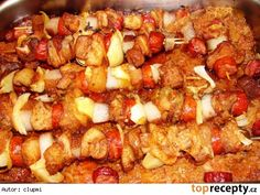 Vepřové špízy na kyselém zelí Pork Recipes, Snack Recipes, Snacks, Czech Recipes, Ethnic Recipes, Food To Make, Food And Drink, Potatoes, Homemade