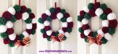 Corona navideña con pompones, fieltro y cintas  My Violet  Myvioletdesigns.com