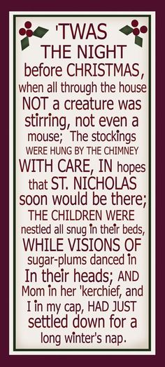 INSPIRATION: 'twas the night before Christmas