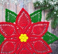 Items similar to Crochet lace poinsettia doily Christmas table decor on Etsy Free Crochet Doily Patterns, Crochet Doilies, Crochet Flowers, Crochet Stitches, Crochet Placemats, Free Pattern, Crochet Christmas Trees, Christmas Poinsettia, Christmas Crochet Patterns