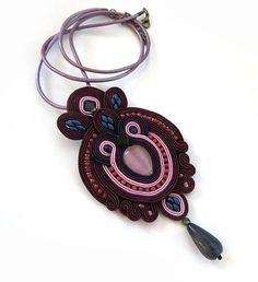 Long Pendant burgundy cranberry necklace soutache by sutaszula