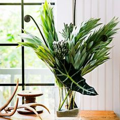Shimmery showstopper   To create this oversize arrangement, bunch together silver tree branches (Leucadendron argenteum) with tightly coiled fern fronds and Brunia laevis sprigs with white berries. Finish with an African mask leaf (Alocasia x amazonica).   Tip: Keep stem ends steady in a layer of sand.   Design: Amoreena Herbage of Seattle's Midnight Blossom floral shop (midnightblossom.com)