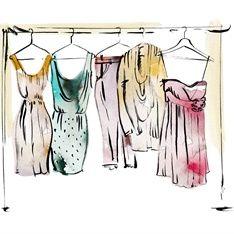 Wardrobe of women's clothing illustration by May van Millingen