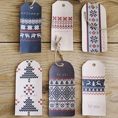 Print our free gift tags (available below) to sweeten-up your gift wrap: http://www.bhg.com/christmas/crafts/christmas-sweater-crafts/?socsrc=bhgpin112414sweaterprintedtags&page=12