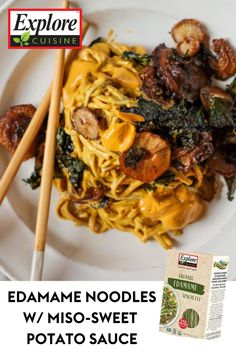 Full of #protein and #fiber, this plate features a unique and appetizing mix of crispy shiitake mushrooms, kale, and a miso-sweet potato sauce! Edamame Noodles, Sweet Potato Sauce, Edamame Spaghetti, Plant Based Recipes, Japchae, Kale, Protein, Stuffed Mushrooms, Fiber