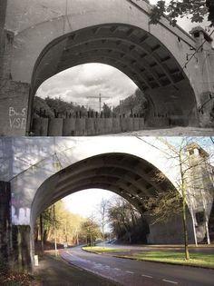 Toen & Nu Arnhem Tankversperringen op de Cattepoelseweg onder het viaduct met de Apeldoornseweg, achtergelaten door de Duitsers, 1945. En in 2014 (jaartal: 1940 tot 1945) - Foto's SERC