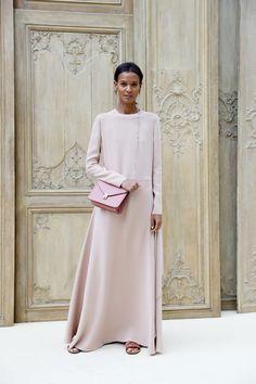 Liya Kebede Maxi Dress - Liya Kebede kept it minimal in a loose pale-pink maxi dress at the Valentino fashion show.