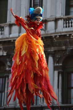 Marianna Sereni performs the 'Angel flight' or 'Flight of the dove' from the bell tower of St Mark's square to officially launch the Venice Carnival...