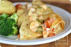 Shrimp Enchiladas...I just made these last night...So delicious! Creamy, spicy...YUM!