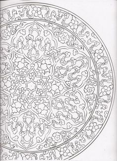 Çini Carving Designs, Stencil Designs, Border Pattern, Pattern Art, Gothic Pattern, Pottery Painting Designs, Islamic Art Pattern, Arabesque, Persian Pattern