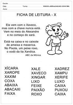 Ficha de Leitura Letra X - Xaveco Portuguese Lessons, Myla, Home Schooling, Professor, Education, Comics, Reading Activities, Preschool Literacy Activities, Letter E Activities