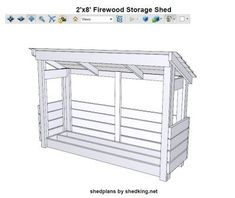 Fun and easy firewood shed plans for building a firewood storage shed. Plans come complete with detailed blueprints, materials list, building instructions, email support, and interactive pdf page that lets you explore the plans in Shed Design Plans, Wood Shed Plans, Free Shed Plans, Wooden Storage Sheds, Storage Shed Plans, Wooden Sheds, Firewood Shed, Firewood Storage, Kayak Storage Rack