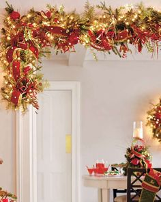 Deck your halls with the Glad Tidings Pre-Decorated Greenery that features stunningly realistic greenery embellished with red velvet ribbon, gold jingle bell accents and soft glowing lights.