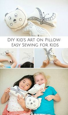 Make cute and easy pillows with your kid& art on them! Make cute and easy pillows with your kids art on them! Sewing Projects For Kids, Sewing For Kids, Diy For Kids, Crafts For Kids, Do It Yourself Design, Room Deco, Joelle, Kids Class, Baby Kind