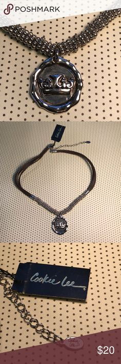Cookie Lee Princess Choker Cookie Lee signature pendant with silver tone beading on leather straps Jewelry Necklaces