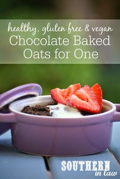 Healthy Chocolate Baked Oats for One Recipe - low fat, gluten free, sugar free, vegan, healthy