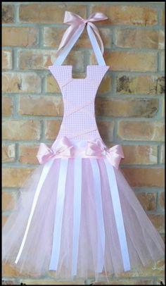 Pink Gingham Corset Tutu Hair Bow Holder-hair clip holder