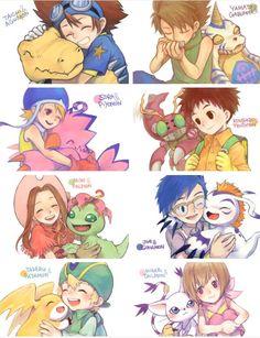 Digimon Adventure - The Eight DigiDestined with thei Digimon: Tai (Taichi) with…