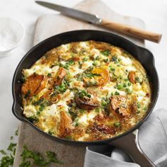 Layers of sweet potato baked with eggs and cheese, our frittata makes a simple and delicious brunch, lunch or supper!