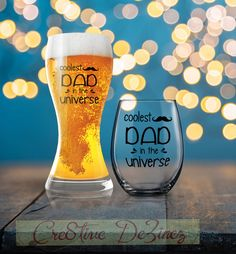 Coolest Dad in the Universe, Father's Day Gift, Dad Beer Glass, Drinking Glass for Dad, Dad Wine Glass, Dad Beer Glass, Father Coffee Mug