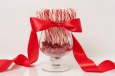 Candycane Centerpieces for kid's tables at a December wedding