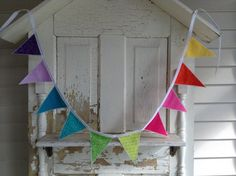 Rainbow Fabric Bunting Banner Pennant Flags by MicheleWyattFriss