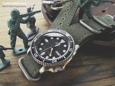 MiLTAT 22mm Washed Canvas Zulu Military Green Double Thickness Watch Strap, Lockstitch Hole, Green Stitches #skx007 #watchband #watchstrap #Seiko #seikowatch #military #men #menfashion